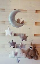Sleepy elephant Moon and stars nursery decor ( ice blue,silver grey, white )