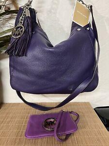 Michael Kors Purple Leather Hobo Crossbody Handbag Purse