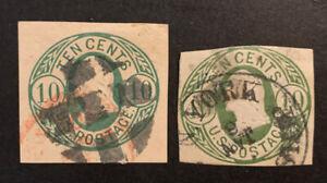 TDStamps: US Cut Square Stamps Scott#U40 U41 Used #U40 Thin