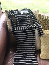 Topshop Striped Pencil Dress With Split And Belt- Size 8