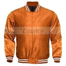 Varsity Baseball Letterman College Bomber Jacket Supreme Quality Orange Satin
