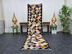 """Moroccan Handmade Vintage Runner Rug 2'4""""x8'8"""" Berber Geometric Multicolor Rug"""