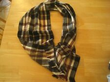 "Soft acrylic neck scarf 62"" x 12"" Black Tan Red White plaid pattern"