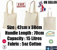 250 x 100% COTTON SHOPPING PLAIN BAGS ECOFRIENDLY TOTE SHOULDER SHOPPER HANDBAG