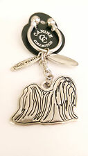 """NEW Canine Collection Silver-Plated """"Lhasa Apso"""" Key Chain Ring & Dog Tag"""