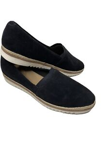 COLLECTION by CLARKS Womens Black Suede Slip On Comfort Shoes Sz 12 Serena Paige