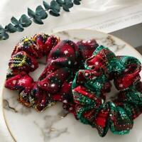 Womens Christmas Elastic Large Hair Ring Scrunchie Holder Ties Hair Z8L5