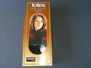 VINTAGE TOTES WOMEN'S SUEDE GLOVES AND MUFFLER SET, ONE SIZE FITS ALL. NOS