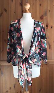 Joy Louche Black Floral Sheer Tie Waist Kimono Festival Cover Up Boho Folk 8 10