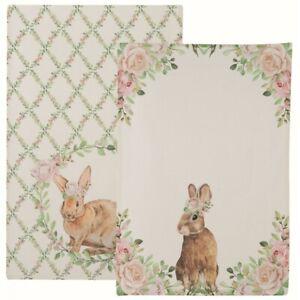 Geschirrtuch Set (2 Stück) Ostern Hase Nostalgie, Blanc Mariclo
