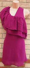 RARE RUFFLE FRILL PURPLE ONE SHOULDER SMOCK SHIFT BAGGY VTG TEA DRESS 12 M