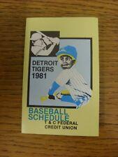 1981 Fixture Card: Baseball - Detroit Tigers (T&C Federal Credit Union - single