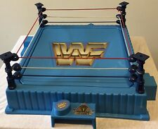 WWF Hasbro 1989 Blue Wrestling Ring with newly replaced stickers and clean ropes
