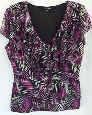 East 5th Womens Top Large Purple Black Print V Neck Lined Blouse Cap Sleeves