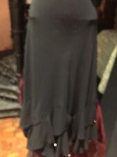 Vintage Flapper Style Black Silky Crepe Beaded Flared Long Skirt
