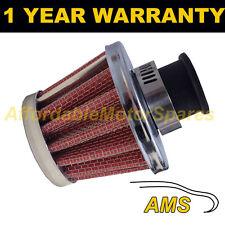 25 mm Aire Aceite Manivela Funda Respirador de filtro Moto Quad Coche Rojo Y Cromo Cono