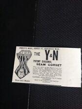 J1-3 Ephemera 1893 Small Advert The Y & N Seam Corset Drapers