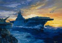 """On Station"" Tom Freeman Print - USS Yorktown enroute to Marcus Islands 1943"