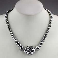 New Silver Facet-Cut Glass Beaded Necklace with Diamante