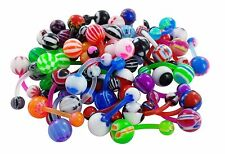 wholesale bulk lot 10 piercing navel belly ring bars jewellery flexible body