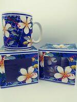 Lot 2 in Box Mugs 1996 Blue Plumeria of Aloha Hawaii Islands Souvenir Coffee cup