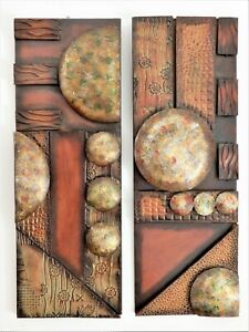 1980's MCM Art Deco style Brutalist cubist Copper Abstract Wall Art Sculptures