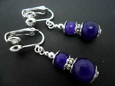 A PAIR OF PURPLE/AMETHYST JADE SILVER PLATED  DANGLY   CLIP ON EARRINGS. NEW.