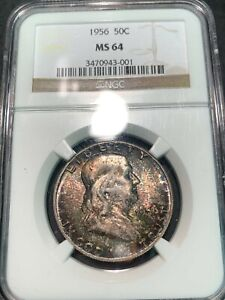 NGC MS 64 Colorful Toned 1956 Franklin half dollar