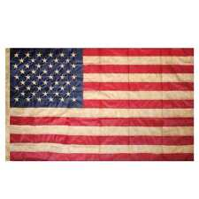 Tea Stained American Flag Embroidered Grommet Flag USA 3' x 5' Briarwood Lane