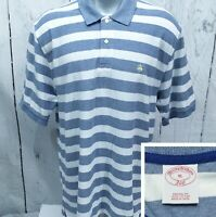 BROOKS BROTHERS XL Short Sleeve Polo Style Original Fit Shirt Blue White Striped