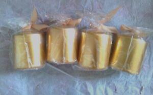"4  Pack of 4 SMALL Gold  Metallic PILLAR Candles 2.5"" x 2.5"" Metallic"
