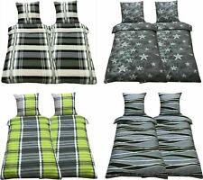 Bettwäsche 135x200 4 tlg Seersucker Microfaser Garnitur Set Bettbezug Bettwaren