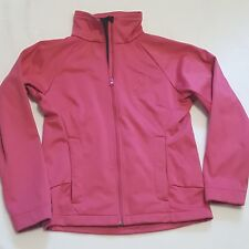 Womens Sz S Jacket BREAST CANCER AWARENESS Pink Curved Front Zip Pockets Warm