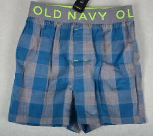 Old Navy Boxer Boxers Underwear Blue Gray Plaid Check Size S M XL 6 7 8 14 16