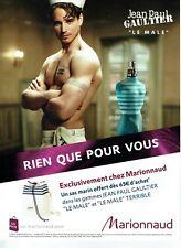 Publicité Advertising 019  2012   parfum Le Male  par JP Gaultier  Marionnaud