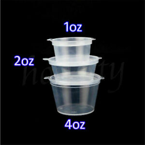 100 X Disposable Sauce Pots Clear Plastic Containers With Hinged Lid 1oz 2oz 4oz