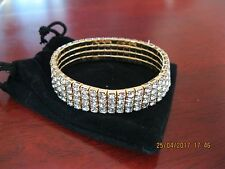 Elements of Swarovski 18ct Yellow Gold Plate 4 Row Pave Bracelet- Lovely Gift
