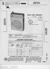 Continental Model TR-751 AM Transistor Radio PhotoFact Technical Manual