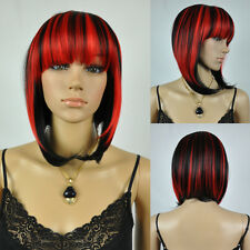 Medium Short Red Black Mix Straight Cosplay Costume Party Full Hair Wig