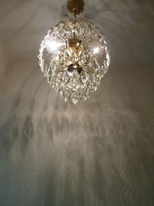 Vintage 3 light Brass and Crystal Old Chandelier