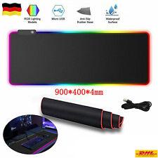 900 x 400mm Gaming Pad Mauspad RGB Anti-Rutsch Mousepad Pad PC Unterlage XXL DE