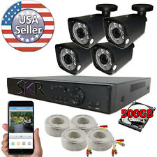 Sikker 4 ch channel DVR 1080P Home security camera system HDMI 500GB hard drive