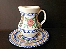 Vintage Talavera Pottery Spain Flowers Hand-painted Handled Jug/Pitcher w/Plate