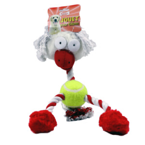 Dog Chew Play Pull Tug Toy Strong Tennis Ball & Rope with Squeak 🐶