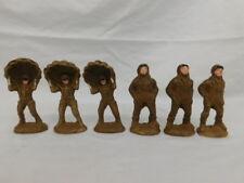 Elastolin Composite Antique Toy Soldiers Parachutists Set Of 6