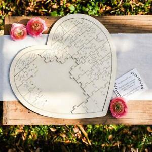 Wooden Heart Jigsaw Puzzle Wedding Guest Book Alternative Keepsake