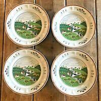 Newcor Stoneware Country Village Salad Plates 627 Set of 4 Vintage Japan