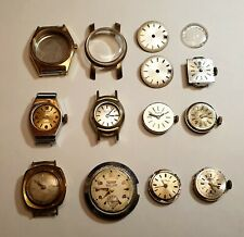 Lot of 9 mechanical manual swiss movement with stem/Crown & other parts. for repair