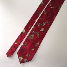 Cintas Fishing Themed Silk Men's Neck Tie Red Lures Rod and Reel Fish Fisherman
