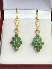 14k Solid Yellow Gold Diamond Shape Lever-back Earrings, Natural Emerald 2.16 Gr